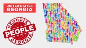 Georgia State Map Population Demographics e filigrana de borracha ilustração stock