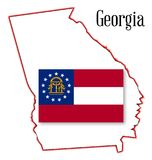Georgia State Map and Seal Royalty Free Stock Image
