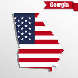 Georgia State map with US flag inside and ribbon Royalty Free Stock Image