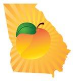 Georgia State mit Pfirsich-Farbvektor-Illustration Lizenzfreie Stockfotografie