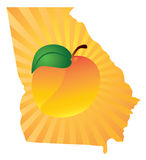 Georgia State with Peach Color Vector Illustration Royalty Free Stock Photography
