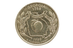 Georgia State Quarter Coin Royalty Free Stock Image