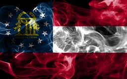 Georgia state smoke flag, United States Of America. On a black background royalty free stock images