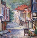 Georgia-Straße im Sommer mit Balkon und Café Lizenzfreie Stockfotos
