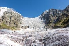 georgia Svaneti Glaciär Adishi - Lardaad Arkivbilder