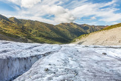 georgia Svaneti Passerande Chhudnieri Glaciär Adishi - Lardaad Arkivbilder