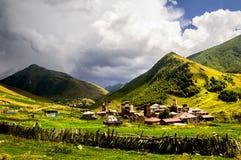 Georgia,Svaneti. Village Ushguli, Svaneti,Georgia,Gruzia under the summer sun Royalty Free Stock Photo