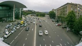 Urban Car Traffic on the Highway in Tbilisi Georgia. Timelapse. GEORGIA, TBILISI, JUNE 17, 2016: Urban Car Traffic on the Highway in Tbilisi Georgia. Timelapse stock video footage