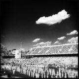Georgia Tech college marching band in black and white. Black and white image of the Georgia Tech college marching band on the field on game day Stock Photos