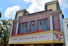 Georgia Theatre on Independence Day. The famous Georgia Theatre live music venue on the day after the independence day 2017 in Athens, Georgia Stock Image