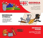 Georgia travel destination promotional tour agency posters set. National authentic symbols, delicious food and scenic spectacular landscape cartoon vector Royalty Free Stock Images