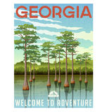 Georgia travel poster or sticker. Vector illustration of bald cypress in wetland swamp Stock Photography