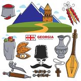 Georgia travel and tourism famous Georgian culture landmarks sightseeing vector icons Royalty Free Stock Photography