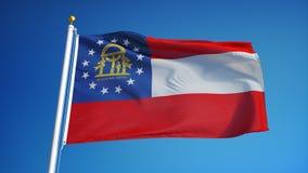 Georgia (U S la bandera del estado) en la cámara lenta inconsútil colocó con alfa almacen de metraje de vídeo