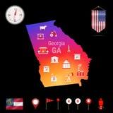 Georgia Vetora Map, opinião da noite Ícone do compasso, elementos da navegação do mapa Bandeira da flâmula dos EUA Ícones das ind Imagens de Stock