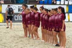 Georgia women`s national rugby team. MOSCOW, RUSSIA - JULY 22-23, 2017: Georgia women`s national rugby team on the European Beach Fives Rugby Championship 2017 Stock Image