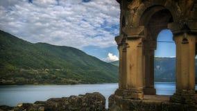 Georgia,Zhinvalis National Water Reserve. Georgia,Gruzia,Saqartvelo, Zhinvalis National Water Reserve - Ananuri church stock photo