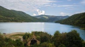 Georgia,Zhinvalis National Water Reserve. Georgia,Gruzia,Saqartvelo, Zhinvalis National Water Reserve - Ananuri fortress fragment stock image