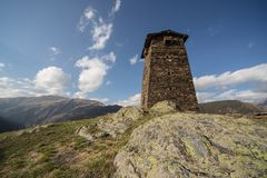 Georgian acient protection towers in causasus mountain. Georgian acient Georgia protection towers in causasus mountain Royalty Free Stock Photos