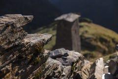 Georgian acient protection towers in causasus mountain. Georgian acient Georgia protection towers in causasus mountain Royalty Free Stock Photo