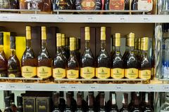 Georgian brandy for sale at supermarket in Tbilisi. Georgia royalty free stock image