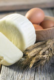 Georgian cheese, eggs and corn. Stock Images