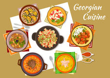 Georgian cuisine traditional rustic dinner icon Royalty Free Stock Images