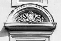 Georgian curved pediment with sculpture Stock Images