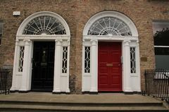 Georgian black and red door in the city Dublin in Ireland. Stock Photography