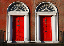 Georgian doors in Dublin. Red Georgian doors in Dublin Stock Photo