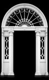 Georgian doorway. In Dublin, Ireland, with cast iron fanlight and ionic columns (isolated on black, leaving copy space - clipping path included royalty free stock photos