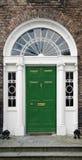 Georgian doorway. In Dublin, Ireland, with cast iron fanlight and ionic columns stock image