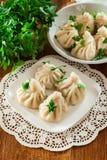 Georgian dumplings - Khinkali Chinkali with minced meat and he stock photo