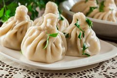 Georgian dumplings - Khinkali Chinkali with minced meat and herbs stock image