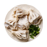 Georgian dumplings Khinkali with meat. And greens coriander leaves on white plate isolate stock images