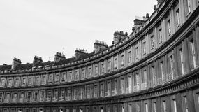 Georgian Era Town Houses. The Circus in Bath England - Terraced Georgian Era Town Houses in Black and White Stock Images