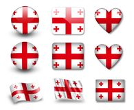 The Georgian flag. Set of icons and flags. glossy and matte on a white background Royalty Free Stock Images