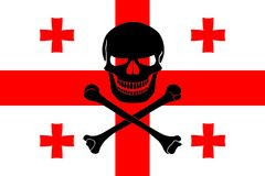 Pirate flag combined with Georgian flag. Georgian flag combined with the black pirate image of Jolly Roger with crossbones Royalty Free Stock Photos