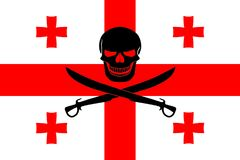 Pirate flag combined with Georgian flag. Georgian flag combined with the black pirate image of Jolly Roger with cutlasses Stock Photography