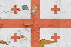 Georgian flag painted on a brick wall. Flag of Georgia. Textured abstract background Stock Photography