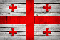 Georgian flag painted on wooden boards Royalty Free Stock Photography