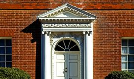 Georgian Front Door. Main entrance to an old red brick house in a Annapolis, Maryland Stock Image