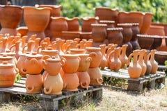 Georgian handmade clay jugs. Heap of Georgian handmade clay jugs Stock Photography