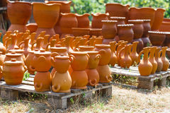 Georgian handmade clay jugs. Heap of Georgian handmade clay jugs Royalty Free Stock Photography