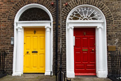 Georgian House Doorway - Yellow & Red Royalty Free Stock Image