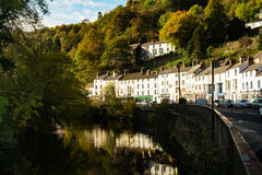 Georgian houses at Matlock Bath, Derbyshire. Autumn reflections in the Derwent at Matlock Bath, Derbyshire stock photo