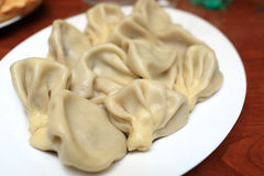 Georgian Khinkali. Khinkali are Caucasian dumplings filled with spiced meat, greens, onions and garlic. Georgia stock photos