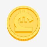 Georgian lari symbol on gold coin. Georgian lari currency symbol on gold coin, money sign vector illustration isolated on white background Royalty Free Stock Photo
