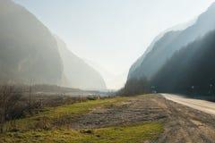 Georgian Military Road between Georgia and Russia, The Caucasus mountains Royalty Free Stock Photos