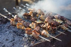 Georgian mtsvadi cooking on barcbecue Royalty Free Stock Image